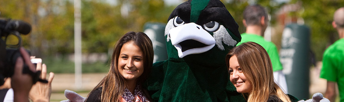 Chappy mascot with students