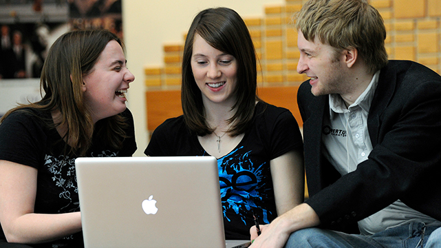 International students on computer