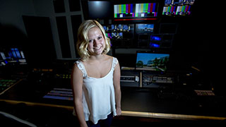 student in the motion picture television lab
