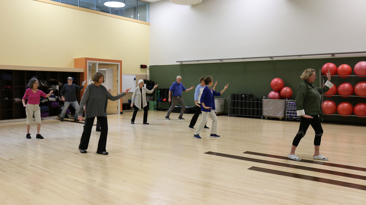 Adult students learning tai chi