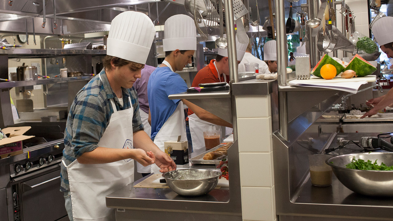Students inside Culinary Kitchen